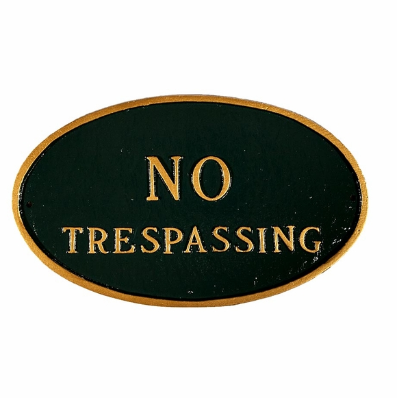 No Trespassing Sign - Custom Metal Plaque For Wall or Optional Lawn Mount