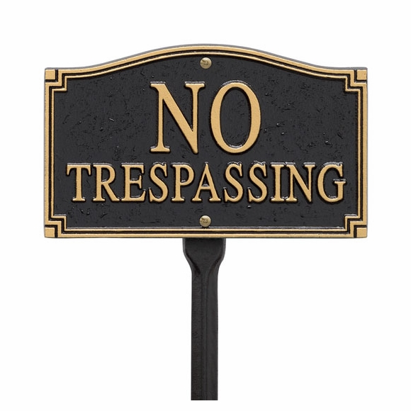 No Trespassing Sign For Wall Mount or Lawn Stake