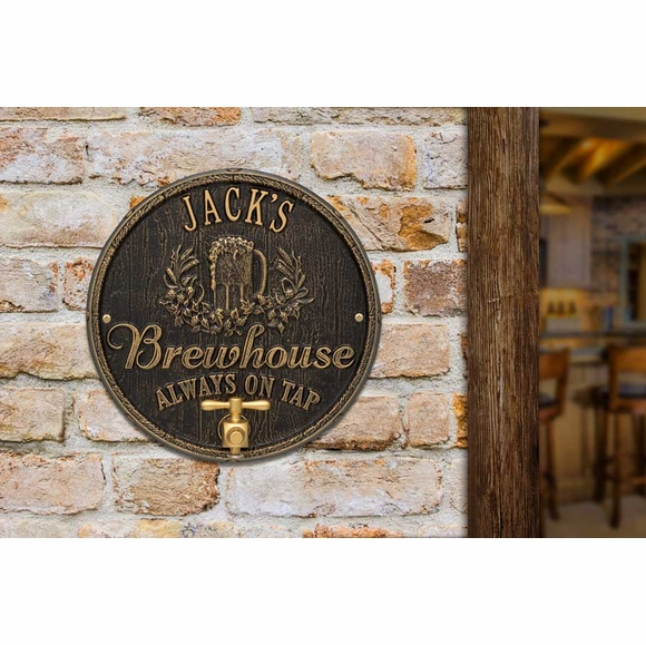 Personalized Brewhouse Always On Tap Plaque - Custom Oak Barrel Shape Name Sign