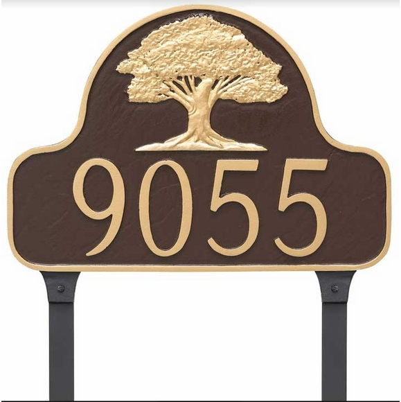Oak Tree Address Sign with Yard Stakes For Lawn Mounting