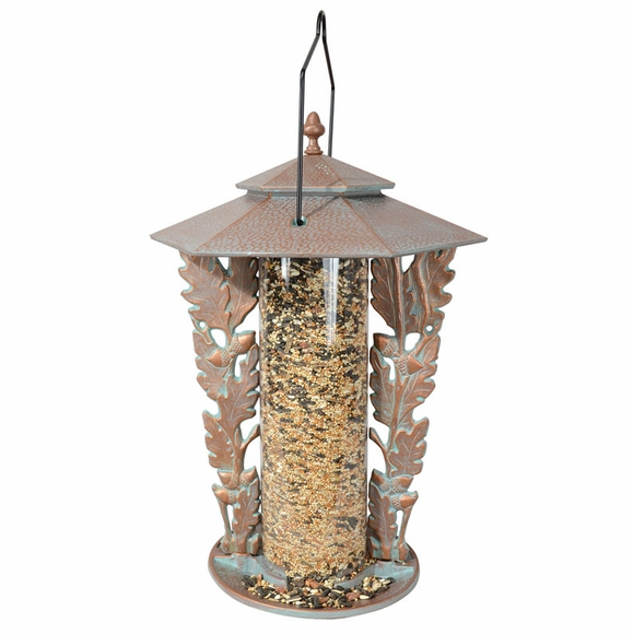 Decorative Bird Feeder With Oakleaf Silhouette