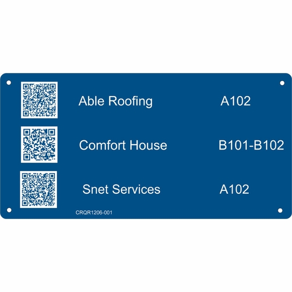 Office Building Directory Sign with QR Codes - Business Name or Room Number Plaque