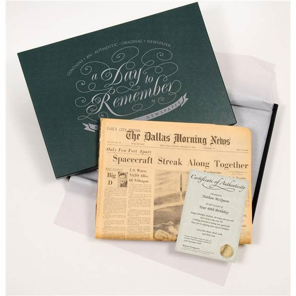 Original Historic Newspaper For Birthday, Anniversary, or Day to Remember in Gift Box