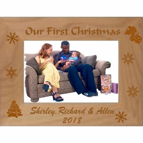 Our First Christmas Custom Engraved Personalized Picture Frame