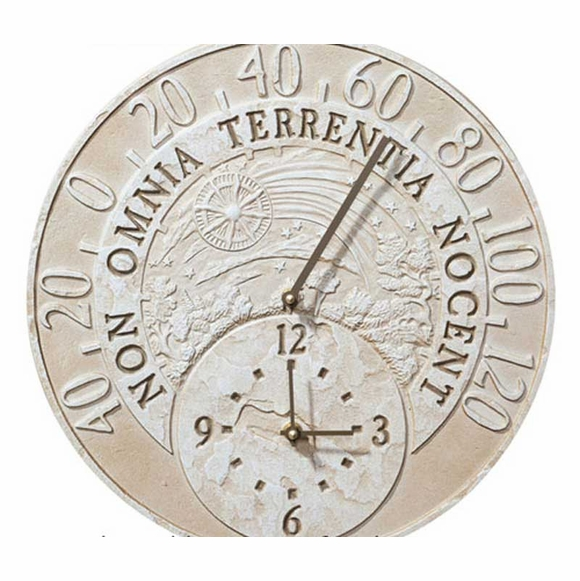Indoor Outdoor Thermometer With Clock, Celestial or Sumac Surface, and Latin Inscription