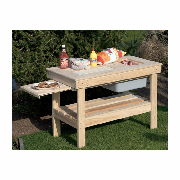 Outdoor Wood Refreshment Stand Serving Table