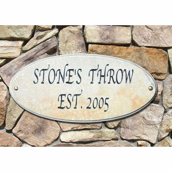 Oval 2 Line Granite Address Plaque or Est. Sign with Fancy Font
