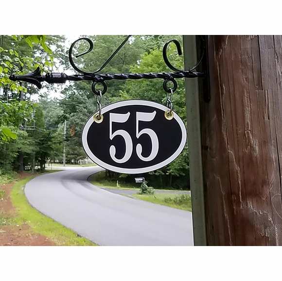 Oval Acrylic Hanging House Number Sign