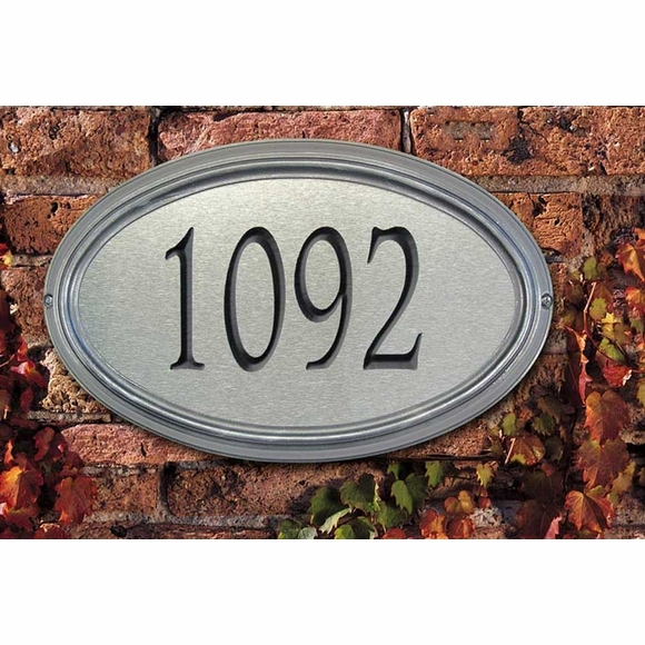 Oval Address Number Sign, Wall Lawn Mount