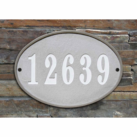 Oval Address Plaque Made From Stone and Resin