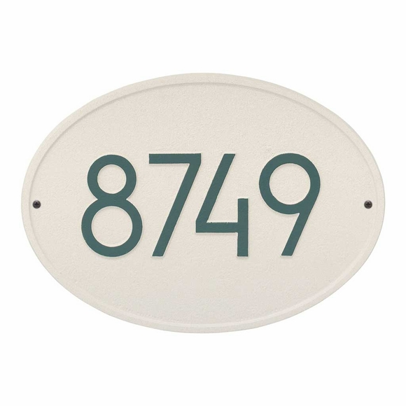 Oval Address Plaque Modern Font - Contemporary House Number Sign