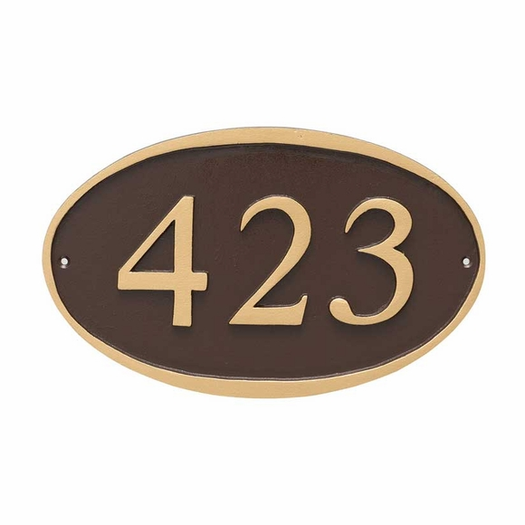 Oval Address Plaque Sign Displays Your House Number - Wall or Optional Lawn Mount - Choose Your Color