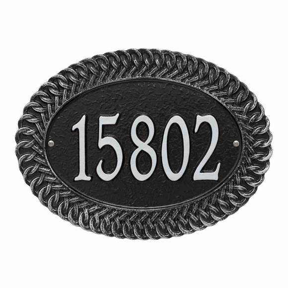 Oval Address Plaque with Faux Wicker Border