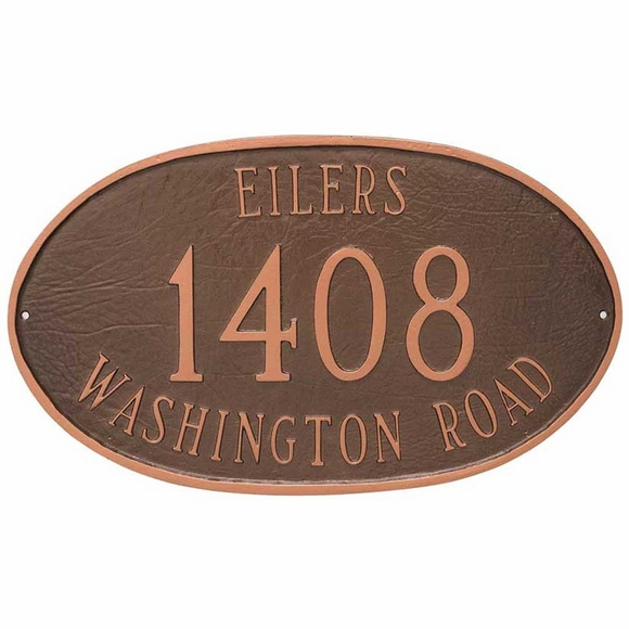 Oval Address Sign Plaque with House Number, Family Name, and Street Name