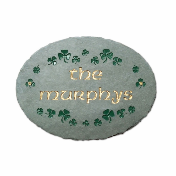 Oval Shamrocks Personalized Name Plaque