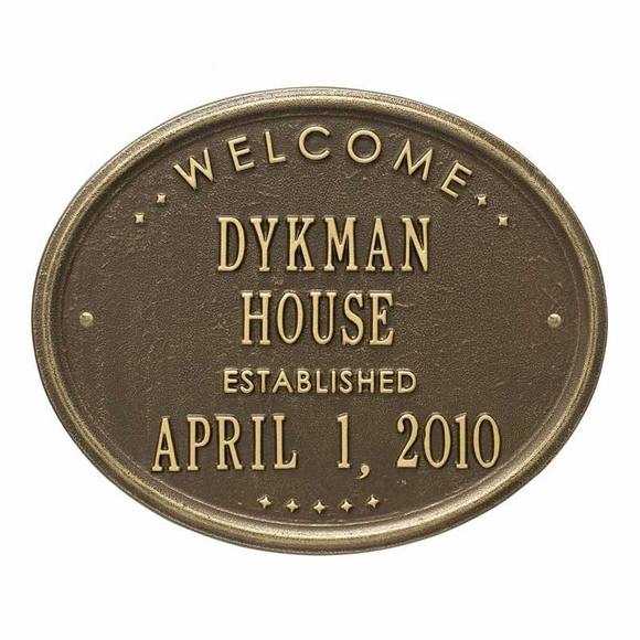 Oval Welcome House Name Established Date Plaque