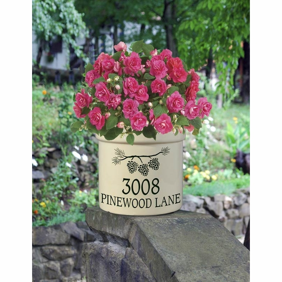 Personalized Address Crock - Stoneware Planting Pot For House Number, Family Established Date, or Custom Message