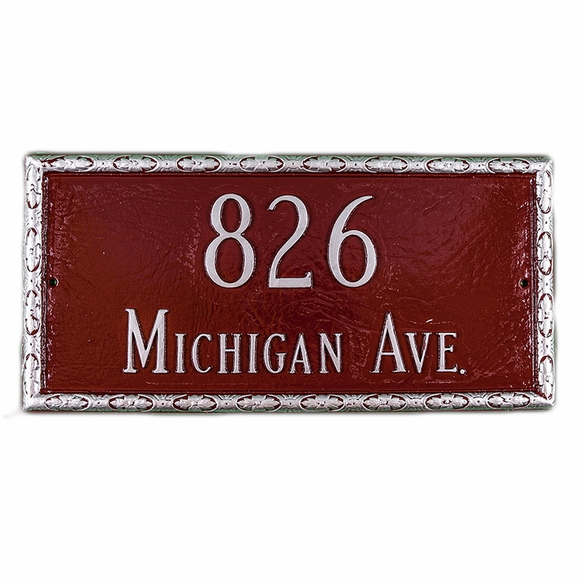 Address Plaque With Unique Decorative Border Displays House Number and Street Name - Choose Your Color