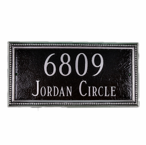 Decorative Address Sign With Two Lines and Beaded Border - For Wall or Optional Lawn Mount