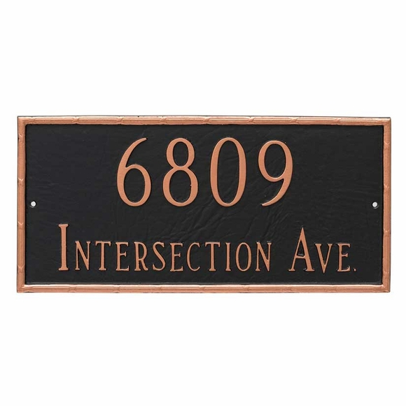 Personalized 2 Line Decorative Home Address Plaque - For Wall or Optional Lawn Mount
