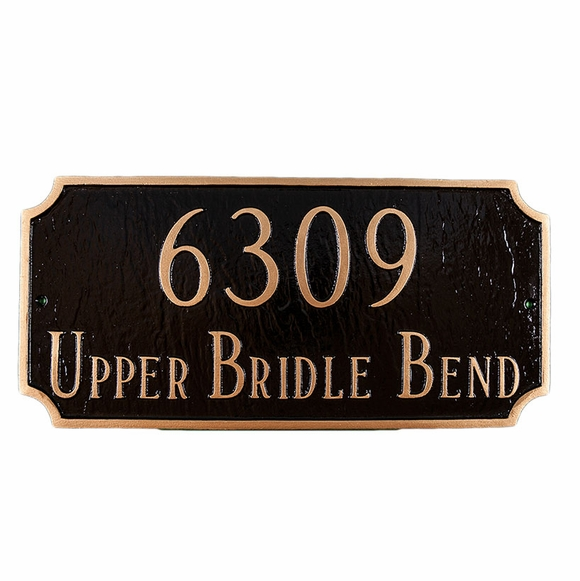 Rectangle Address Plaque With 2 Lines - Choose Your Size, Color, and Wall or Lawn Mount