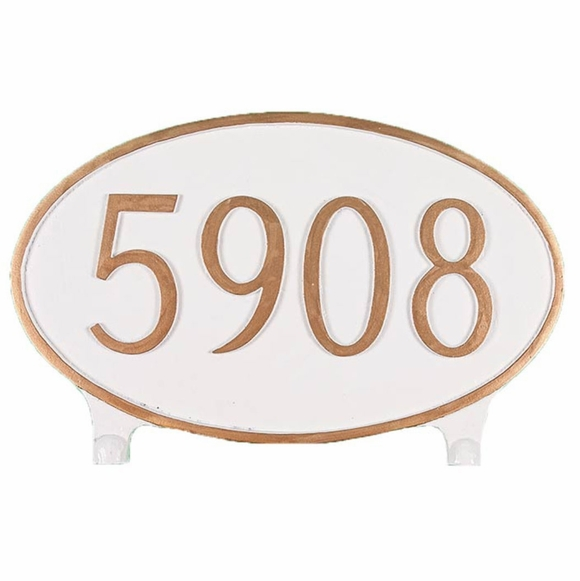 Personalized 2 Side Oval House Number Plaque - Double Sided Lawn Mounted Address Sign