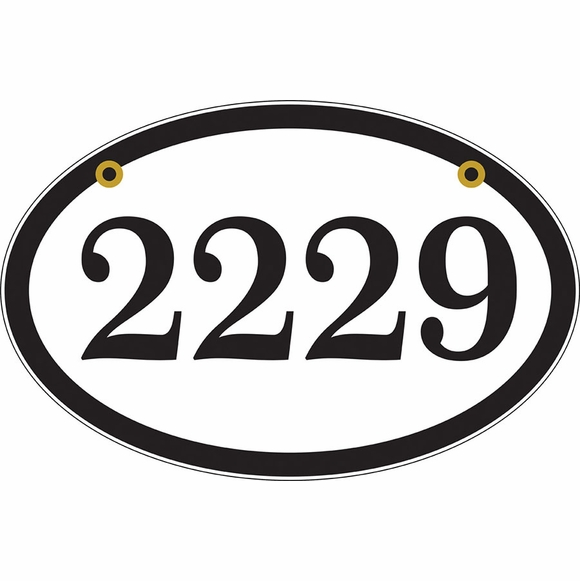 Two Sided Oval Hanging Address Sign - Double Sided Address Plaque