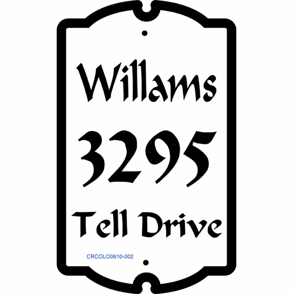 Colonial Style Home Address Plaque With 3 Lines