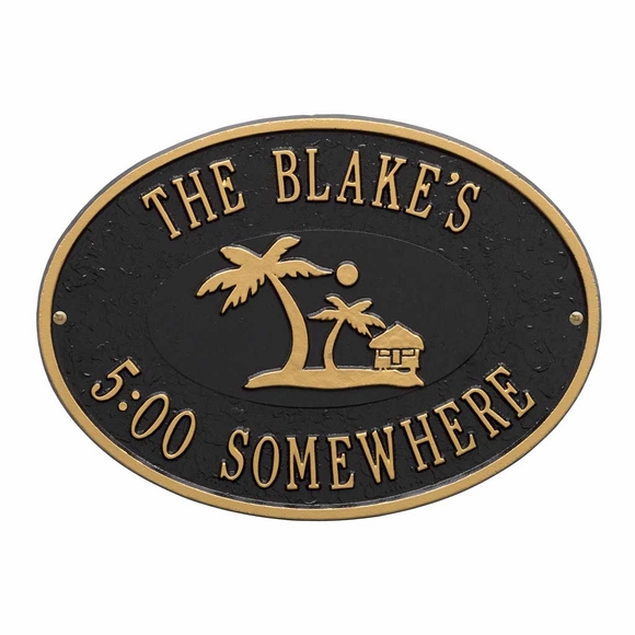Personalized Five O'Clock Somewhere Plaque - With Name and Palm Trees