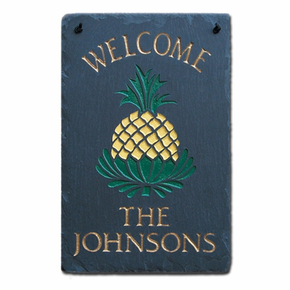 Personalized 8x12 Slate Pineapple Welcome Plaque