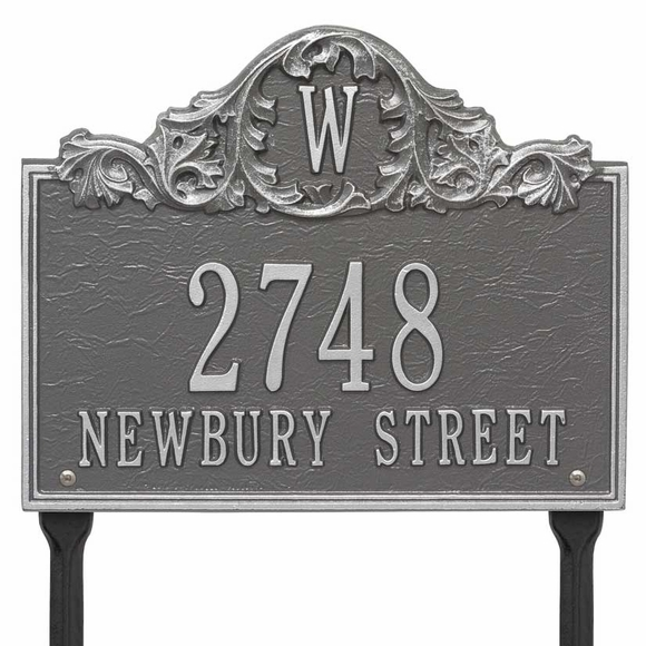 Monogram Address Sign With Letter At Top and Acanthus Leaves