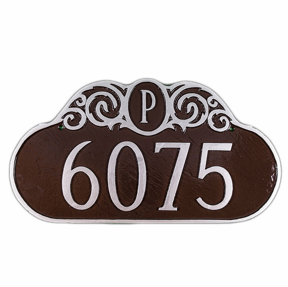 Address Number Plaque With Monogram Letter And Scroll Design At Top