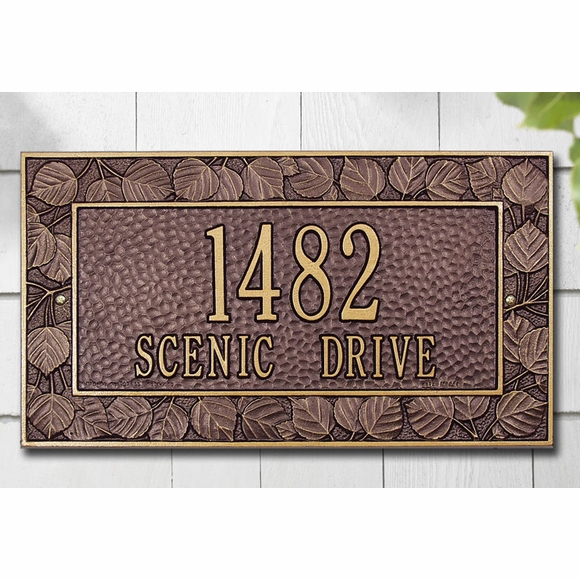 Personalized Address Plaque with Aspen Leaf Border