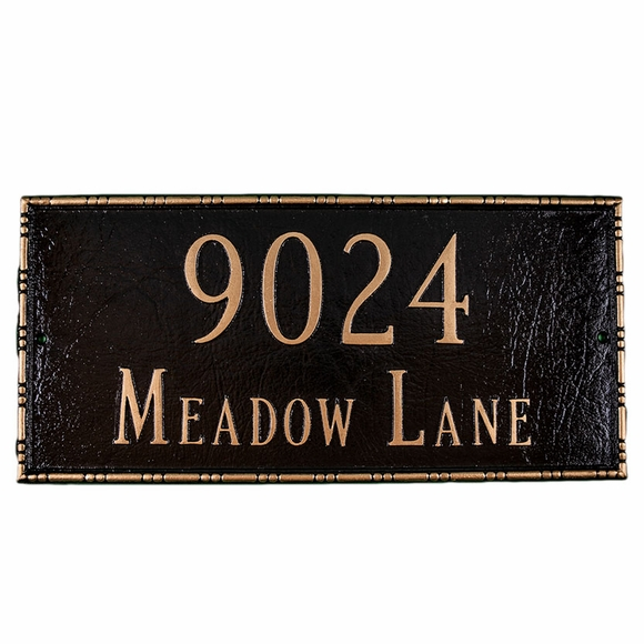 Address Plaque with Decorative Border - Rectangular House Number Sign
