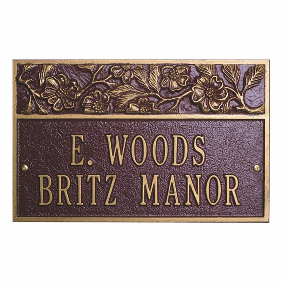 Personalized Metal Address Plaque with Flowers