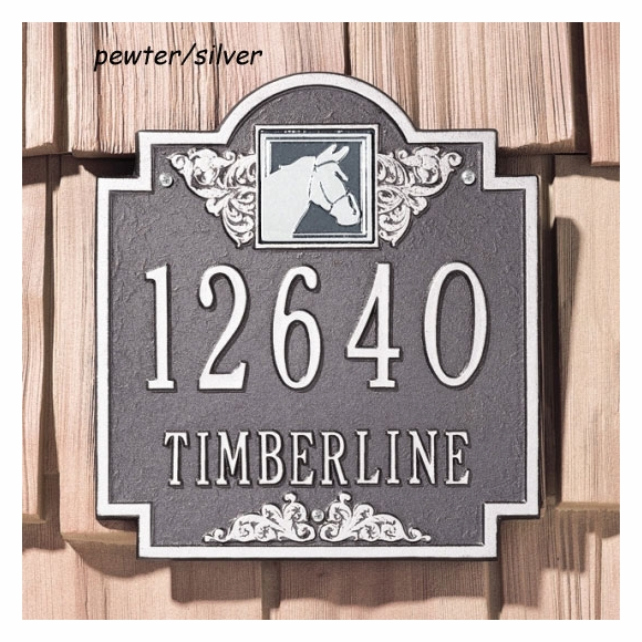Personalized Address Plaque with Horse Head At Top - Equestrian House Number Sign