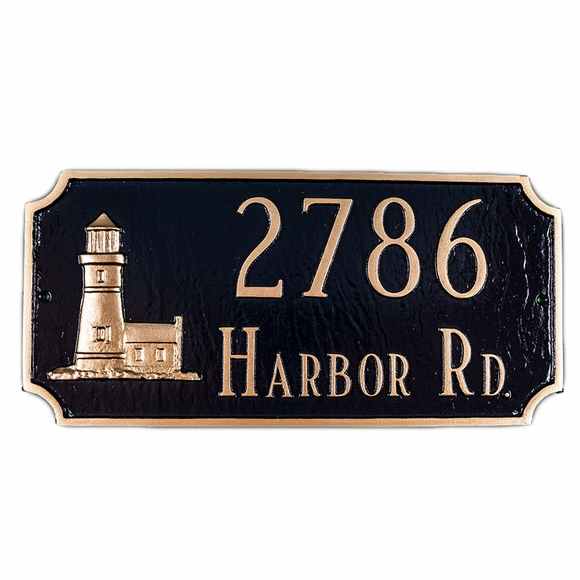 Personalized Address Plaque with Lighthouse