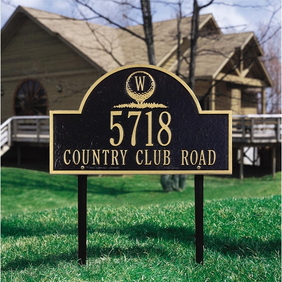 Address Plaque with Monogrammed Golf Ball For Wall or Optional Lawn Mount