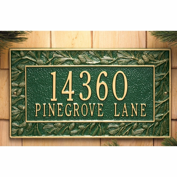 Personalized Address Plaque with Pine Cone Border