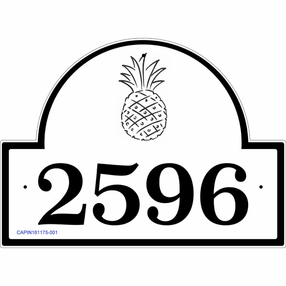Address Plaque with Pineapple In Arch