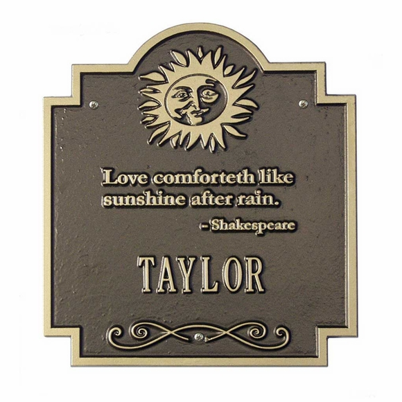 Love Comforteth Like Sunshine After Rain Shakespeare Quote Personalized Name or Address Plaque