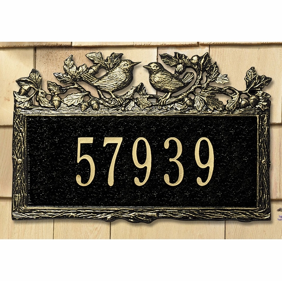 Personalized Address Plaque with Two Birds, Leaves, Branches, and Acorns - Wrens House Number Sign