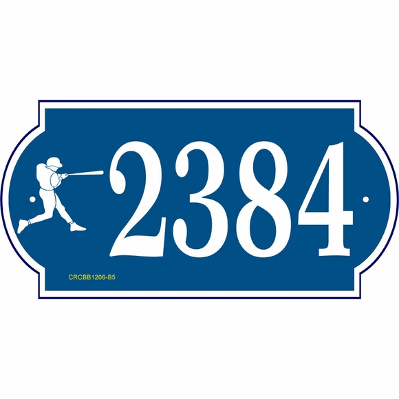 Personalized Address Sign with Baseball Symbol