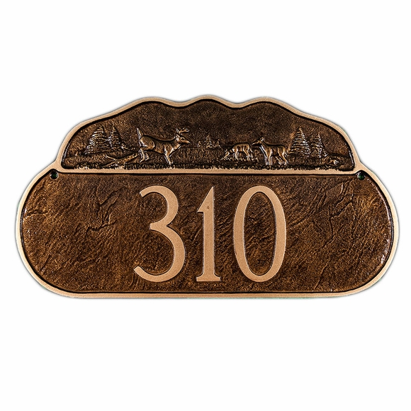Personalized Address Sign with Deer and Wilderness Scene