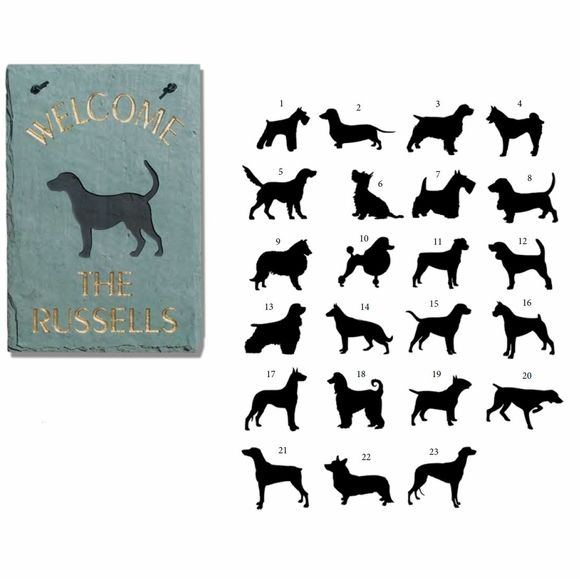Personalized Slate Address Sign with Dog