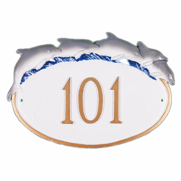 Address Sign with Dolphins On Top - Wall Mount or Optional Lawn Stake