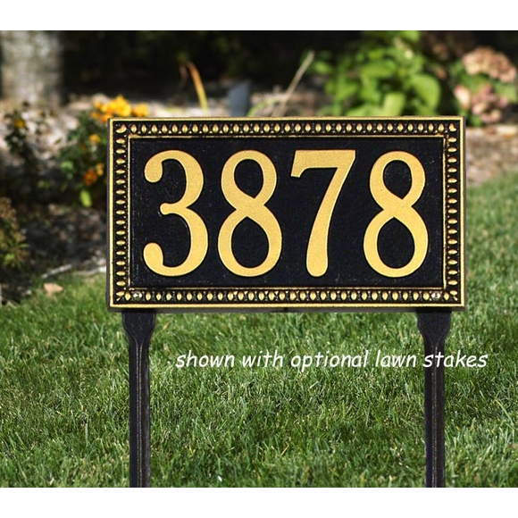 Address Sign with Egg and Dart Border For Wall or Optional Lawn Mount