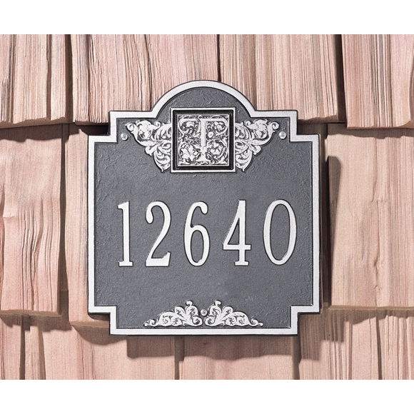 Wall Mount Address Sign with Initial Monogram And Decorative Embellishments