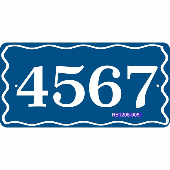 Address Sign with Wave Border