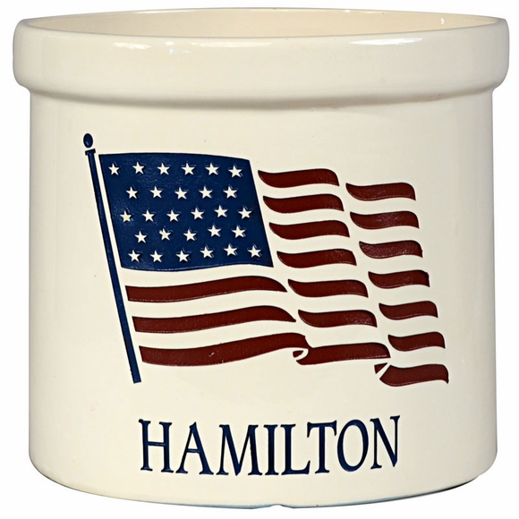 Personalized American Flag 2 Gallon Stoneware Crock